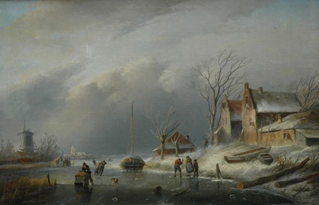 Jan Jacob Spohler | A winter landscape with skaters on the ice, oil on canvas, 40.0 x 60.8 cm, signed l.l.