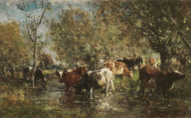 Roelofs W.  | Drinking cows on the waterside, oil on panel, 17.2 x 27.1 cm, signed l.r.