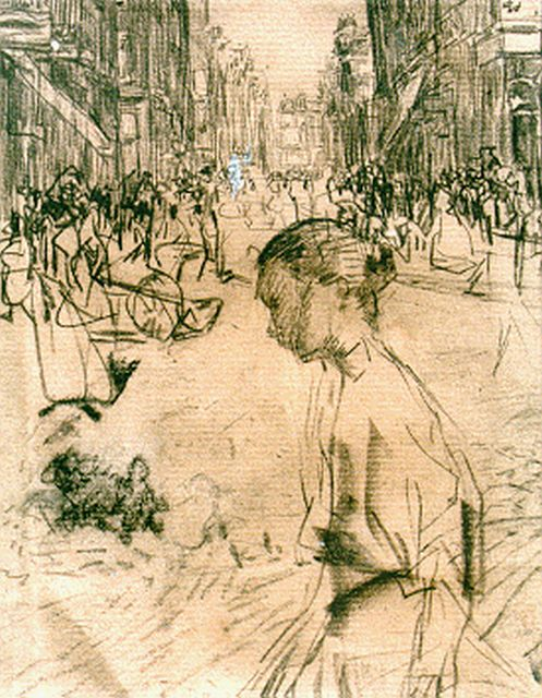 Israels I.L.  | Woman in an Amsterdam street; verso: a woman's portrait, chalk on paper, 15.5 x 12.0 cm, signed possibly with monogram and painted in 1893