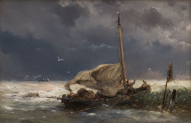 Hermanus Koekkoek | Fishing boat and steamer in a storm, oil on panel, 10.7 x 16.0 cm, signed l.l.