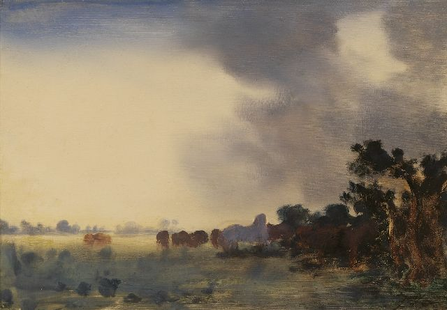 Jan Voerman sr. | Horses in a dark clouded landscape, oil on panel, 22.0 x 32.0 cm, signed l.r. with initials
