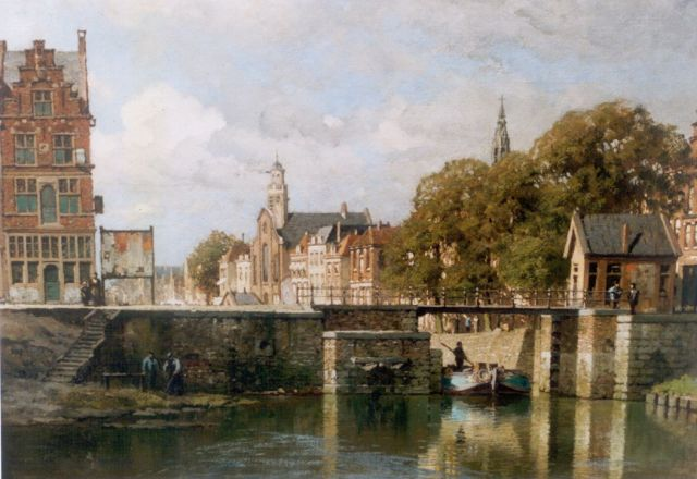 Karel Klinkenberg | View of a canal, Delfshaven, oil on canvas, 40.0 x 53.0 cm, signed l.r.