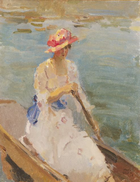 Israels I.L.  | A young woman, rowing on the Thames, oil on canvas, 92.0 x 71.5 cm, signed l.r. and painted between 1913-1914