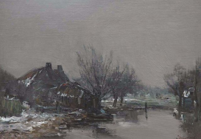 Louis Apol | A farm in winter, oil on canvas laid down on panel, 28.0 x 39.8 cm, signed l.r.