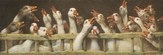 William Weekes | Christmas Greetings, oil on painter's board, 12.8 x 38.1 cm, signed l.r.