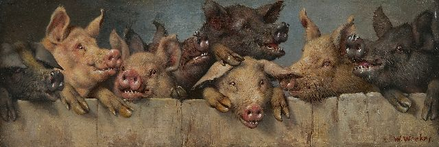 William Weekes | Pigs in a sty, oil on painter's board, 13.0 x 38.1 cm, signed l.r.