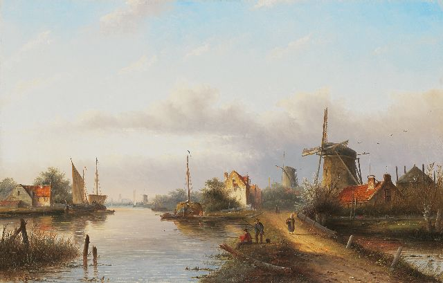 Jacob Jan Coenraad Spohler | Dutch river view with windmills and two anglers, oil on canvas, 43.1 x 67.2 cm, signed l.l.