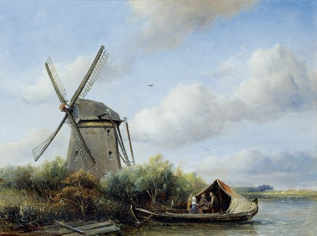 Antonie Waldorp | Figures in a boat near a polder mill, oil on panel, 30.4 x 40.2 cm, signed l.l. and painted '43