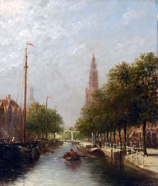 Petrus Gerardus Vertin | A capriccio view of Leiden, oil on panel, 23.9 x 20.3 cm, signed l.r. and dated '85