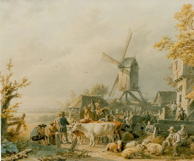 Barend Cornelis Koekkoek | Cattle market, watercolour on paper, 21.5 x 27.4 cm, signed m.r. and dated 1850
