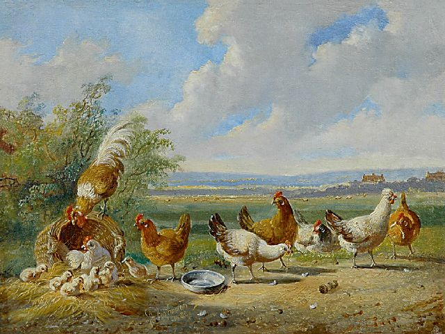 Albertus Verhoesen | Poultry in an extensive landscape, oil on panel, 14.5 x 19.0 cm, signed l.c. and painted 1880