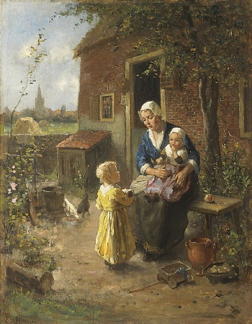 Bernard de Hoog | Motherly love, oil on canvas, 65.2 x 50.2 cm, signed l.l.