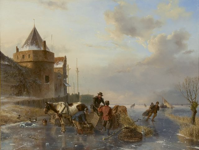 Nicolaas Johannes Roosenboom | Unloading the horse's sledge near the Schreierstoren, Amsterdam, oil on panel, 63.5 x 83.4 cm, signed l.l. and painted between 1844-1845