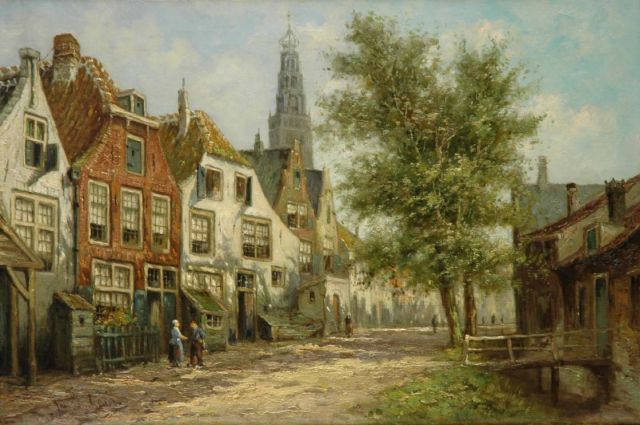 Laar J. van | Figures in a street, with the Bakenessekerk beyond, oil on canvas 40.2 x 60.3 cm, signed l.l. and on the reverse