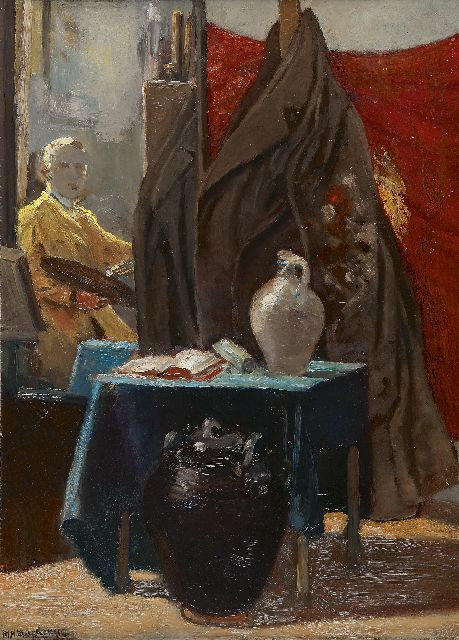 Mackenzie M.H.  | Mirror image in the artist's studio, oil on panel 72.5 x 52.7 cm, signed l.l.
