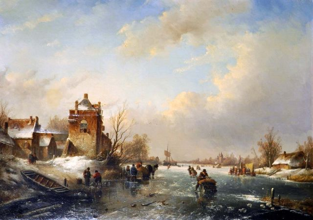 Jan Jacob Spohler | Skaters on a frozen waterway, oil on canvas, 58.3 x 81.8 cm, signed l.l.