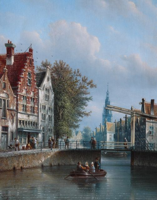 Johannes Franciscus Spohler | A sunlit canal, with a church beyond, oil on canvas, 44.0 x 34.8 cm, signed l.l.