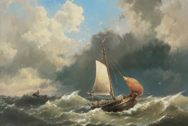 Hermanus Koekkoek jr. | Fishing boats on wild seas, oil on canvas, 113.0 x 166.0 cm, signed l.l. and dated 1859