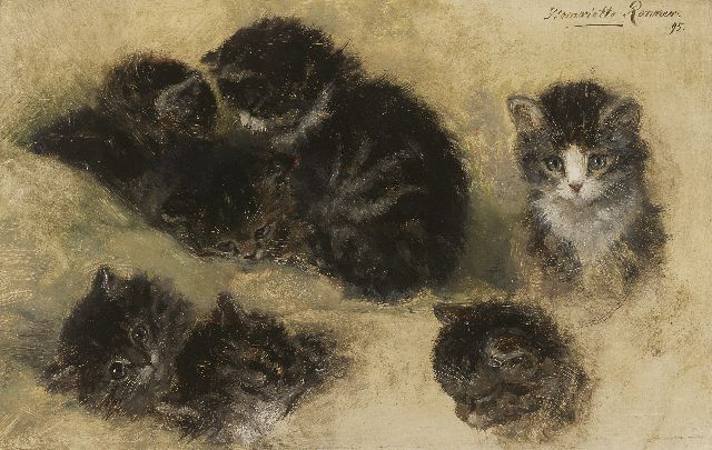 Henriette Ronner-Knip | Study of kittens, oil on paper laid down on panel, 25.1 x 39.7 cm, signed u.r. and painted '95