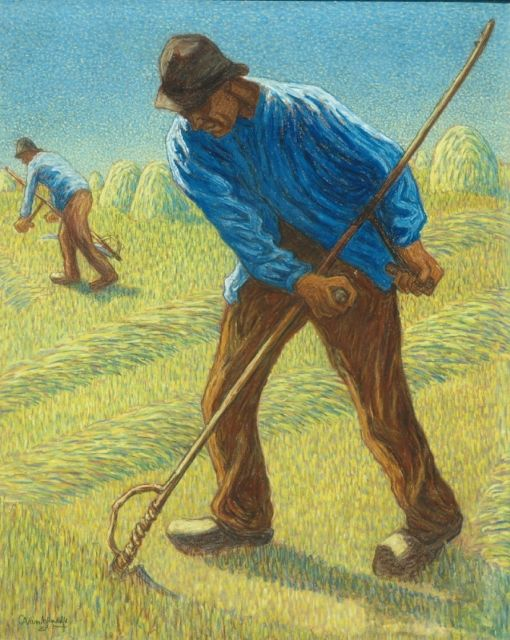 Cornelis Albert van Assendelft | The mower, pastel on paper, 70.5 x 56.5 cm, signed l.l.