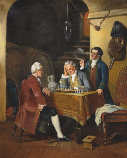 Engelse School, 19e eeuw | Playing chess in the cellar, oil on canvas, 69.0 x 55.8 cm, gesigneerd r.o.