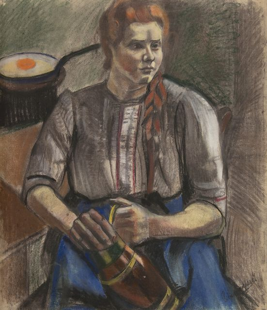 Piet van Wijngaerdt | Kitchen interior with a farm maid, charcoal and pastel on paper, 100.0 x 87.0 cm, signed l.r. and te dat. 1921