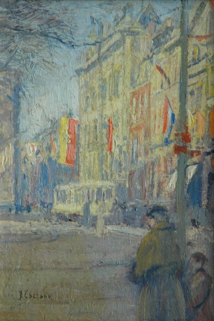Ko Cossaar | Festivities in The Hague, oil on canvas laid down on panel, 30.0 x 21.0 cm, signed l.l.