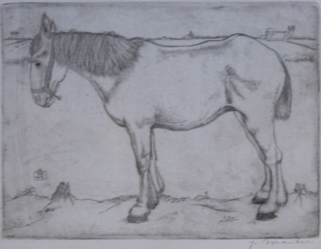 Jan Mankes | A horse, etching on paper, 11.8 x 15.8 cm, signed l.r. in pencil and m.l. with monogram in the plate and painted in 1917