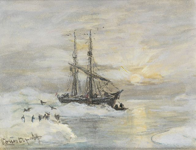 Louis Apol | The Willem Barentsz in Spitsbergen, gouache on paper, 11.2 x 14.0 cm, signed l.l.
