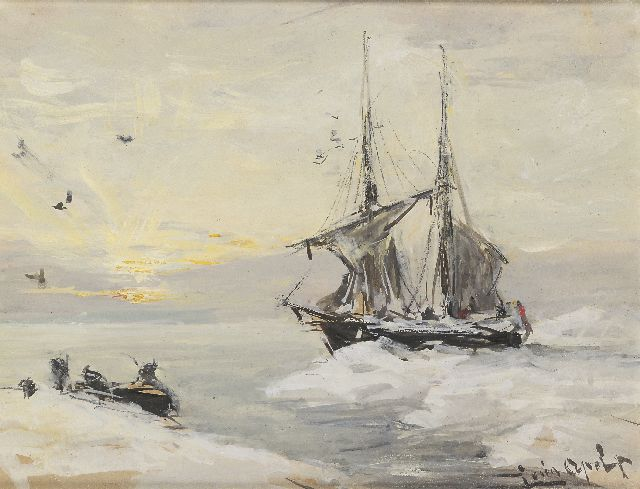 Louis Apol | The Willem Barentsz in Spitsbergen, gouache on paper, 13.2 x 17.5 cm, signed l.r.