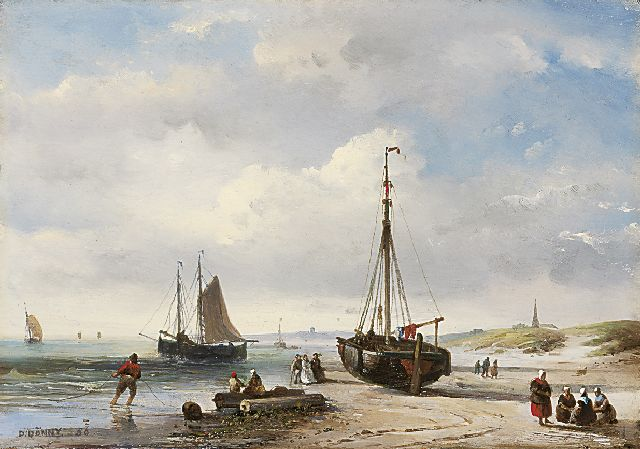 Desiré Donny | An elegant company and fishermen on the beach, oil on panel, 19.2 x 27.6 cm, signed l.l. and dated '56