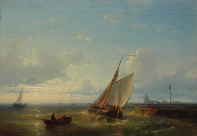 Abraham Hulk | A vessel entering a harbour, oil on panel, 25.2 x 36.3 cm, signed l.r.