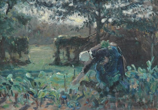 Bernard Blommers | Working in the fields, oil on canvas, 25.0 x 35.3 cm, signed l.r. with monogram