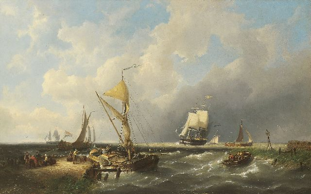 Pieter Cornelis Dommershuijzen | Sailing freighters in choppy seas, oil on canvas, 50.4 x 81.2 cm, signed l.l. and dated 1865