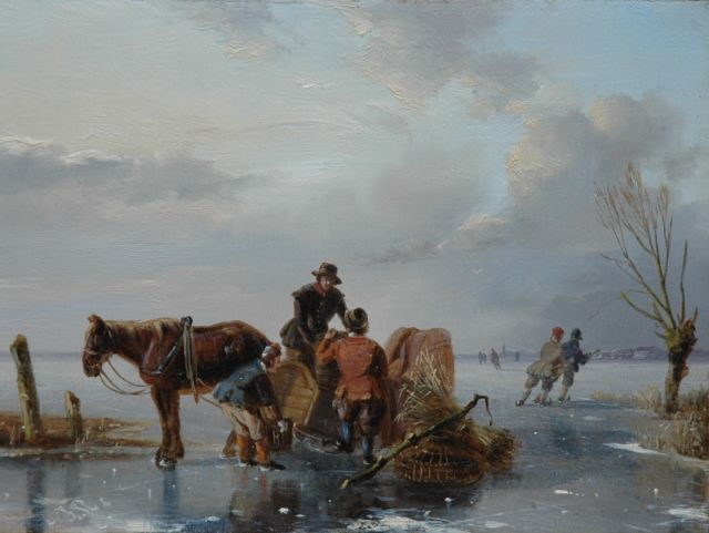 Nicolaas Johannes Roosenboom | A winter landscape with skaters on the ice, oil on panel, 12.8 x 17.1 cm, signed l.l. with initials