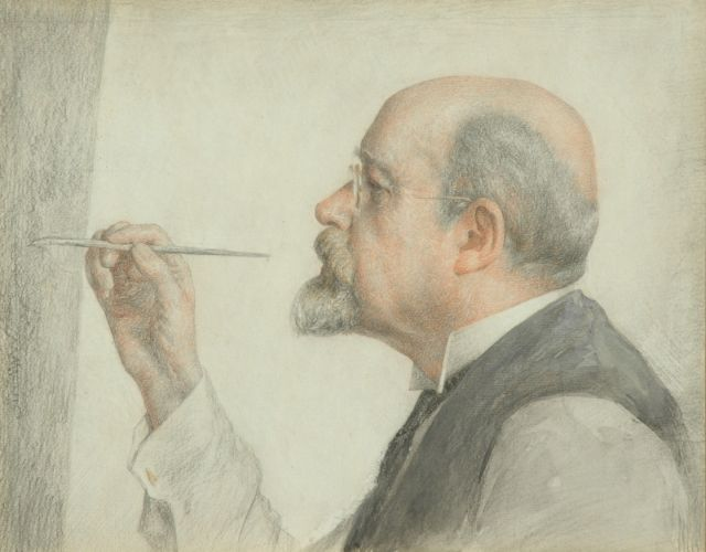Georg Rueter | Prof. dr. Jan Veth at his easel, coloured pencil on paper, 27.1 x 33.6 cm
