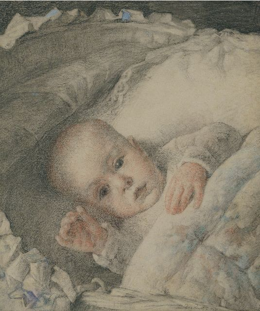 Georg Rueter | A portrait of Jan Peter Moes as a baby, coloured pencil and chalk on paper, 32.6 x 27.9 cm, signed l.r. and dated 1920
