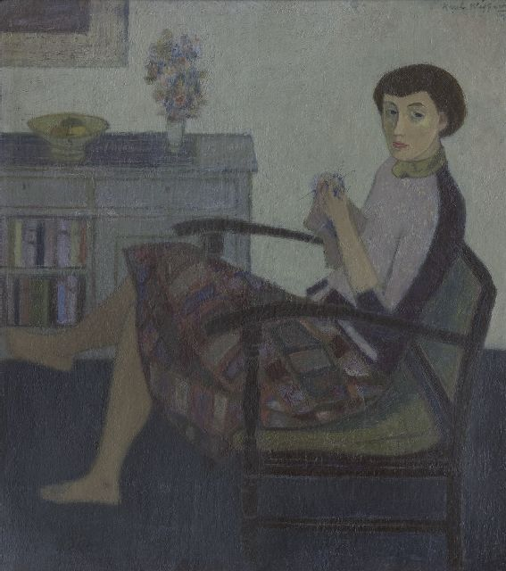 Wiggers K.H.  | A woman, knitting, oil on board 50.3 x 44.8 cm, signed u.r.
