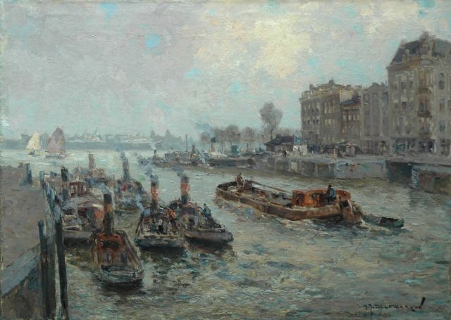 Gerard Delfgaauw | The Leuvehaven near the river Maas, Rotterdam, oil on canvas, 50.2 x 70.3 cm, signed l.r.