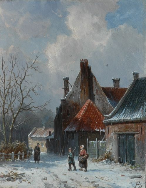 Adrianus Eversen | A village in winter, oil on panel, 18.9 x 14.8 cm, signed l.r. with monogram