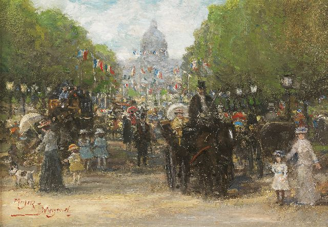 Rolf Dieter Meyer-Wiegand | Feast-day in Paris, oil on panel, 14.0 x 20.0 cm, signed l.l.