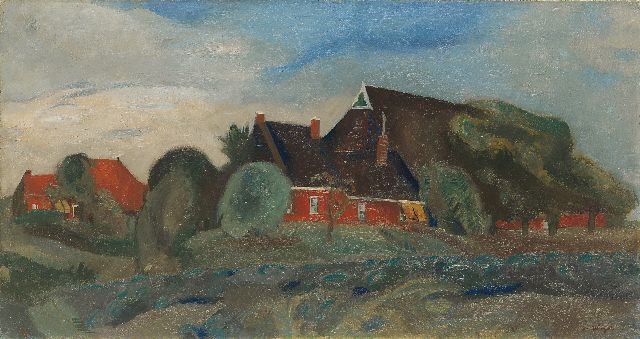 Wiegers J.  | Farmhouses near Groningen, oil on canvas, 40.1 x 75.0 cm, signed l.r. and painted circa 1930-1933
