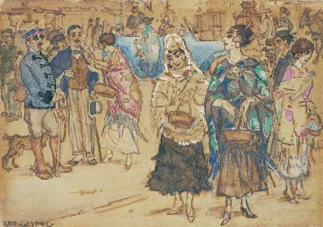 Leo Gestel | Charity Bazaar, Madrid, ink and watercolour on paper, 9.0 x 13.0 cm, signed l.l. and painted 1914