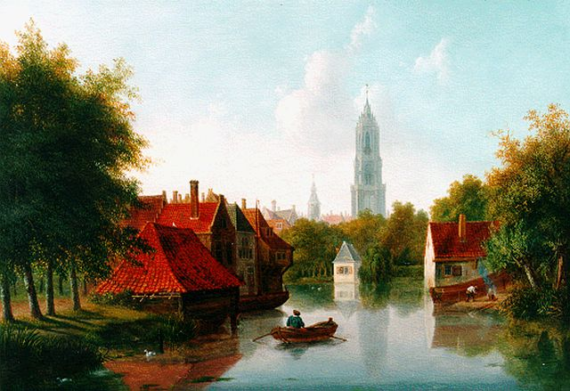 Pieter Daniel van der Burgh | A Dutch canal in summer, oil on panel, 29.0 x 39.0 cm, signed l.r.