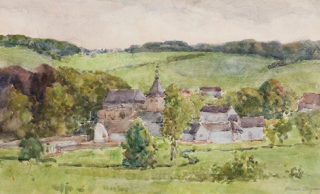 Hermanus Adrianus Charles 'Herman' Bogman Jr. | A view of the castle Genhoes near Oud-Valkenburg, watercolour on paper, 36.0 x 58.5 cm, signed l.r.