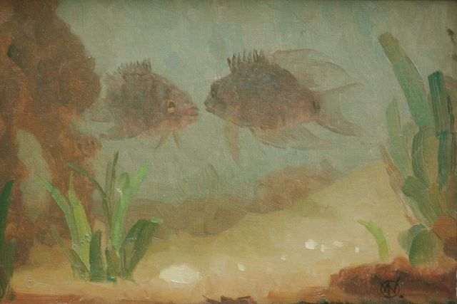 Gerrit Willem Dijsselhof | An aquarium with fish, oil on canvas, 18.0 x 25.5 cm, signed l.r. with monogram