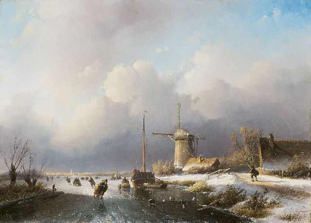 Jan Jacob Spohler | Skating on a river near a windmill, oil on panel, 39.2 x 55.3 cm, signed l.l.