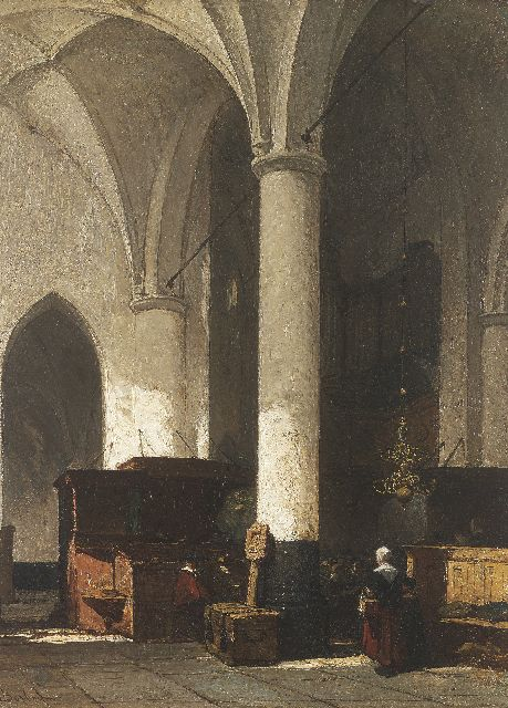 Johannes Bosboom | Interior of the Dutch protestant church in Hattem, oil on panel, 38.0 x 28.6 cm, signed l.l.