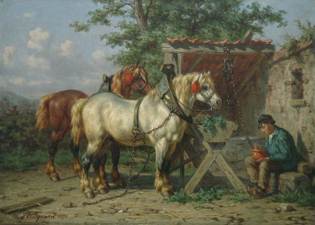 Willem Johan Boogaard | A well deserved rest, oil on panel, 19.5 x 27.3 cm, signed l.l. and dated 1876