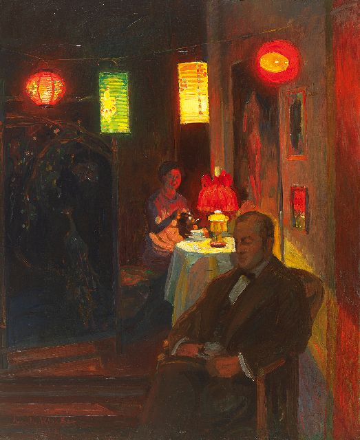 Kleiber E.  | Evening tea time with Chinese lanterns, oil on canvas 68.0 x 55.0 cm, signed l.l. and dated 1912